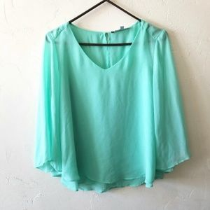 Jennifer Lopez Teal Blue Blouse Size Small